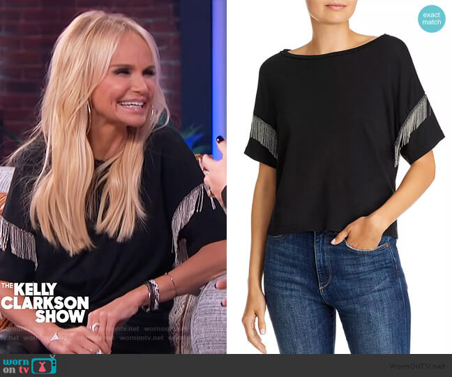 Shimmy Chain-Fringed Tee by LNA worn by Kristin Chenoweth on the Kelly Clarkson Show