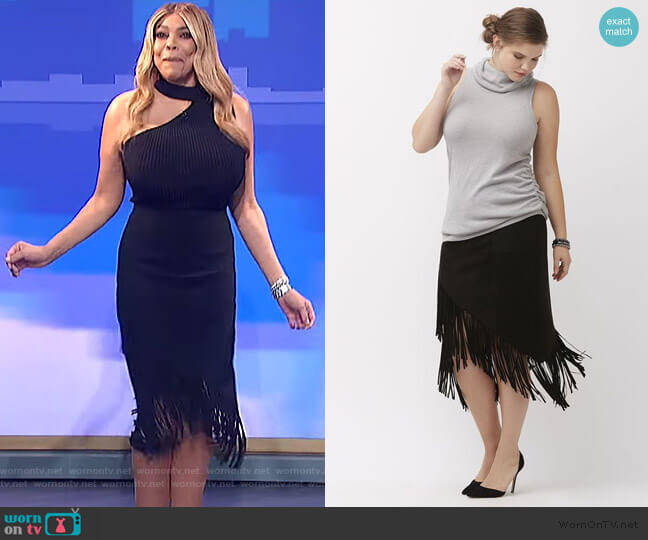 Lane Suede Fringe Skirt by Lane Bryant worn by Wendy Williams  on The Wendy Williams Show