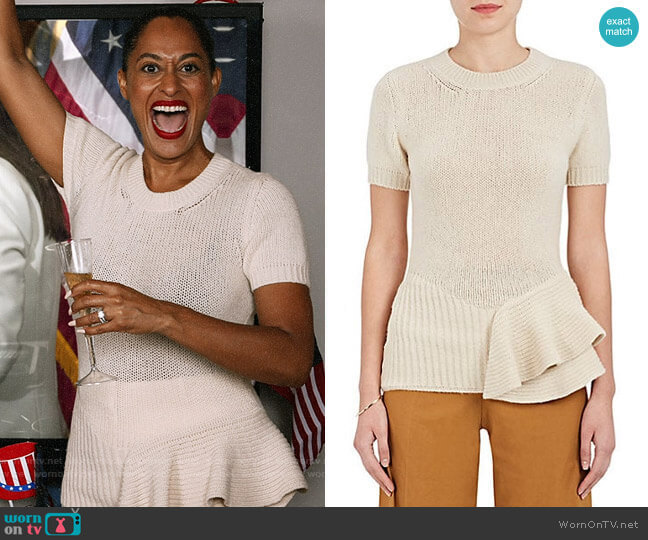 Lanvin Peplum Wool-Blend Short-Sleeve Sweater worn by Rainbow Johnson (Tracee Ellis Ross) on Blackish