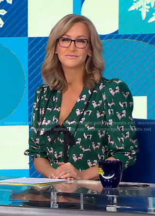 Lara's green dog print blouse on Good Morning America
