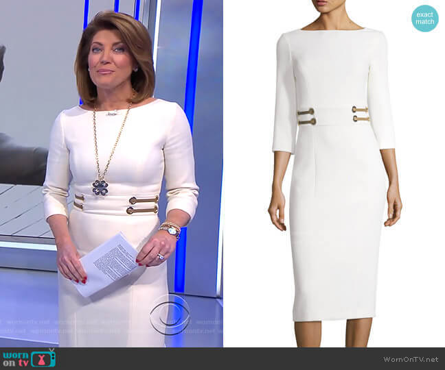 Leather-Trim Boucle Crepe Sheath Dress by Michael Kors Collection worn by Norah O'Donnell  on CBS Evening News