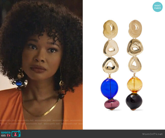 Gumdrop Long Gold-Tone and Glass Earrings by Leigh Miller worn by Monica Colby (Wakeema Hollis) on Dynasty