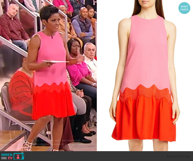 Wave Contrast Hem Wool Blend Dress by Lela Rose worn by Tamron Hall  on Tamron Hall Show