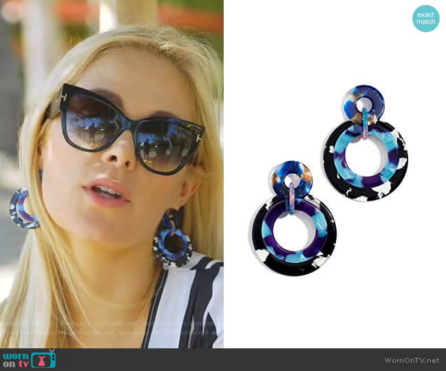 Banded Hoop Earrings by Lele Sadoughi worn by Kameron Westcott  on The Real Housewives of Dallas
