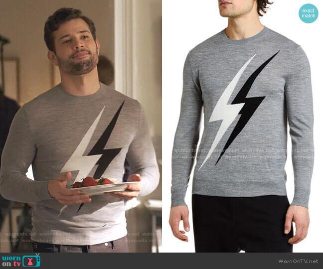 Lightning Bolts Crewneck Sweater by Neil Barrett worn by Sam Flores (Rafael de la Fuente) on Dynasty