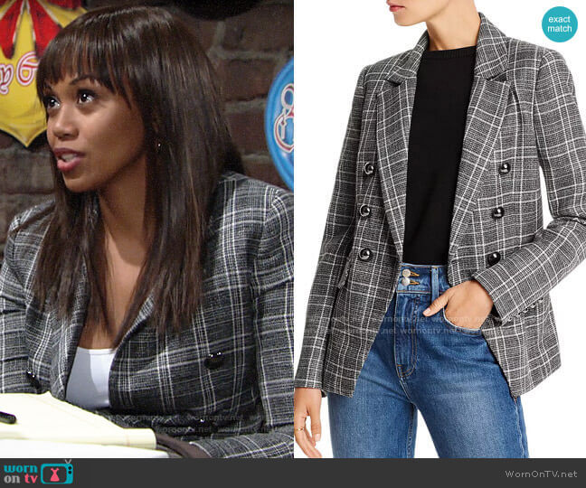 Lini Evelyn Double-Breasted Plaid Blazer worn by Amanda Sinclair (Mishael Morgan) on The Young & the Restless