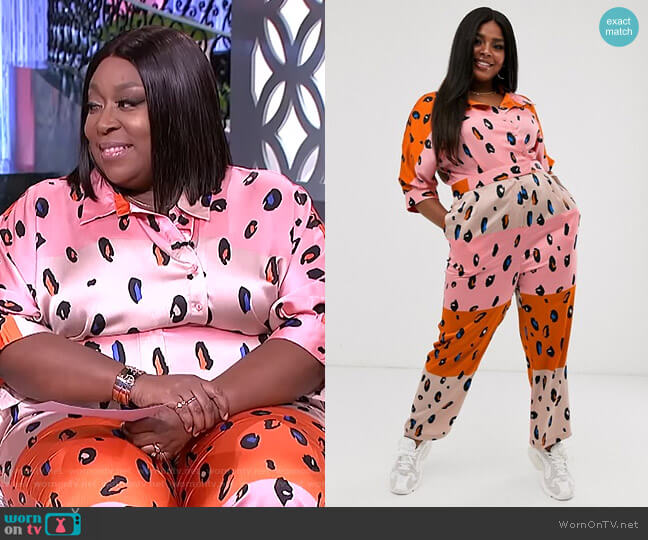 Jumpsuit with Belt in Contrasting Leopard Print by Liquorish as Asos worn by Loni Love  on The Real