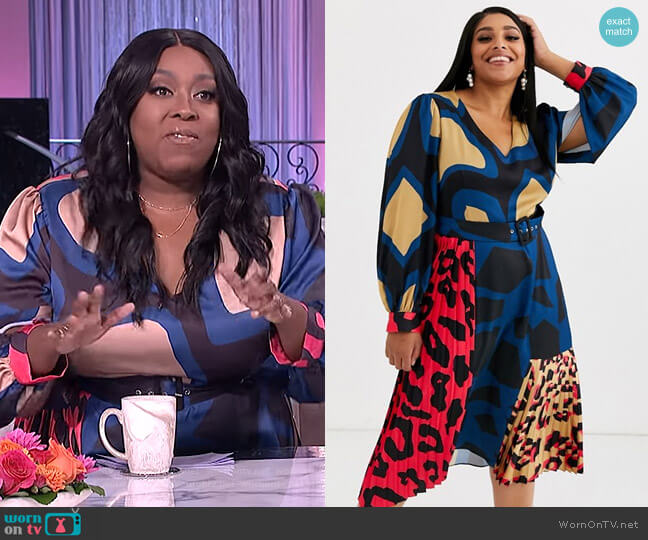 Satin Midi Dress with Pleat Detail in Multi Abstract Animal Print by Liquorish at Asos worn by Loni Love  on The Real