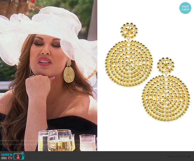 Disk Earrings by Lisi Lerch worn by Emily Simpson  on The Real Housewives of Orange County