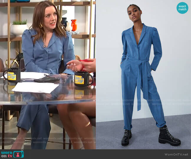 Long Belted Jumpsuit by Zara worn by Melanie Bromley  on E! News