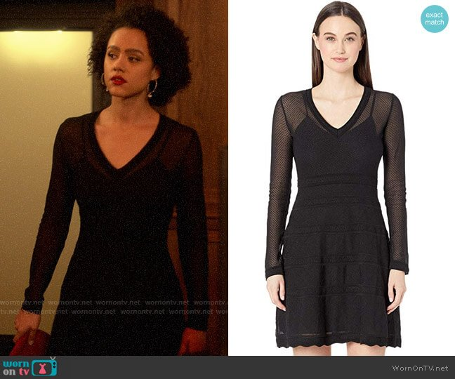 M Missoni Long Sleeve Geometric Jacquard Short Dress worn by Maya (Nathalie Emmanuel) on Four Weddings & a Funeral