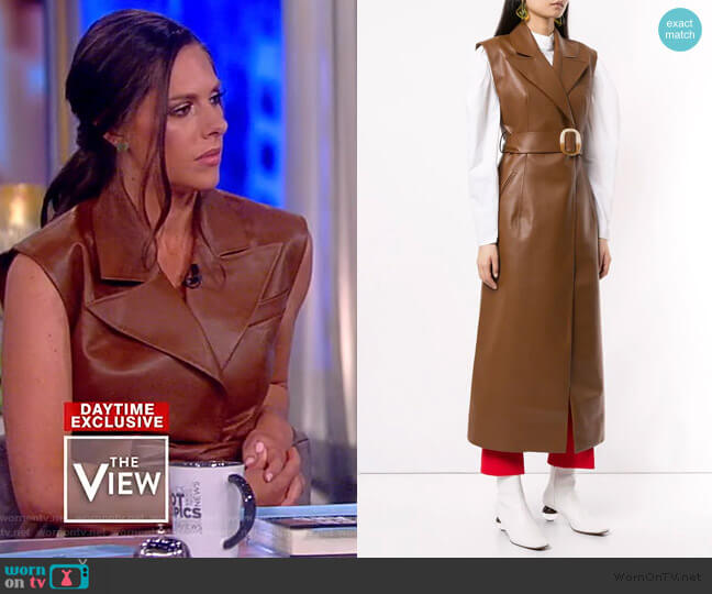 Belted Longline Vest by Materiel worn by Abby Huntsman  on The View
