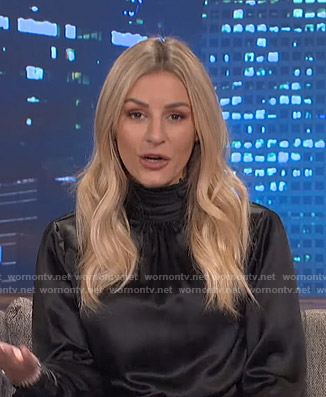 Morgan's black high neck blouse on E! News Nightly Pop