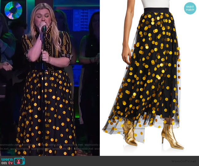 Polka Dot Tulle Long Skirt by MSGM worn by Kelly Clarkson  on The Kelly Clarkson Show