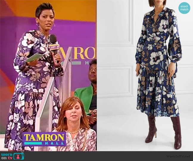 Hilda Ruffled Floral Wrap Dress by Munthe worn by Tamron Hall  on Tamron Hall Show