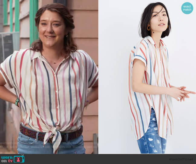 Gauze Central Tunic Shirt in Rainbow Stripe by Madewell worn by Nonnie Thompson (Kimmy Shields) on Insatiable