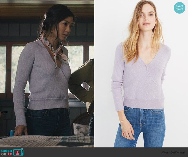 Wrap Front Pullover Sweater by Madewell worn by April (Alisa Allapach) on Light as a Feather