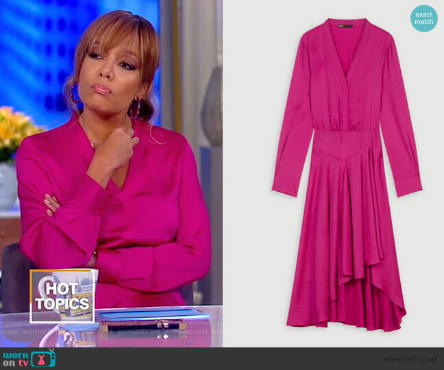 Asymmetrical Satin Dress by Maje worn by Sunny Hostin  on The View
