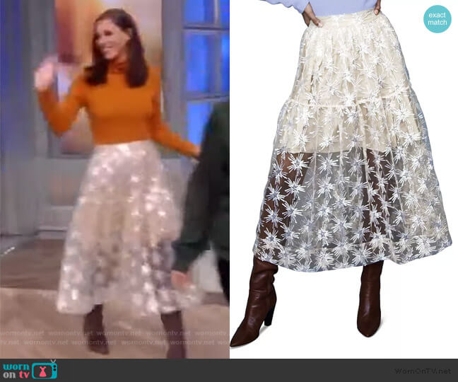 Jizio Sequined Star Midi Skirt by Maje worn by Abby Huntsman  on The View