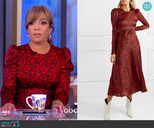 Ravie Floral Print Dress by Maje worn by Sunny Hostin  on The View