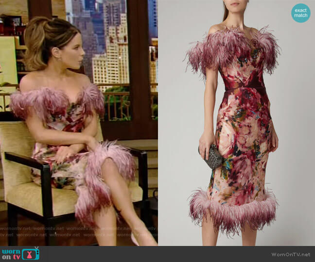 Feather-Trimmed Floral-Print Silk Dress by Marchesa worn by Kate Beckinsale on Live with Kelly and Ryan