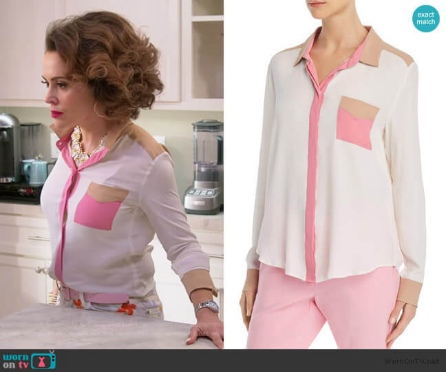 Odessa Color-Blocked Button-Down Shirt by Marella worn by Coralee Armstrong (Alyssa Milano) on Insatiable