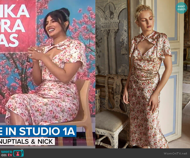 Raphael Floral Twist Front Top and Piero skirt by Markarian worn by Priyanka Chopra Jonas on Today Show