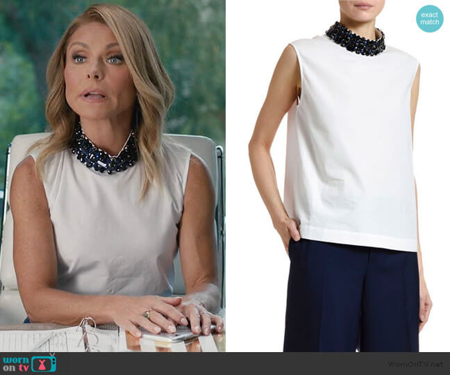 Sleeveless Cotton Poplin Jewel-Neck Blouse by Marni worn by Kelly Ripa on American Housewife