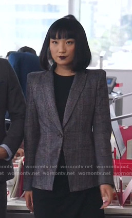 Mei's grey plaid blazer on Sunnyside
