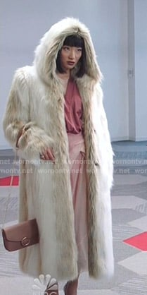 Mei's white hooded fur coat on Sunnyside