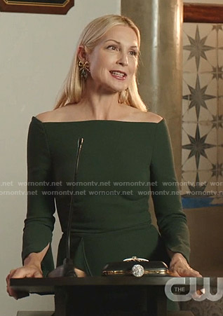 Melissa's green off-shoulder dress on Dynasty
