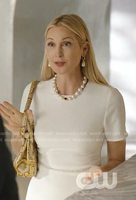 Melissa's white embellished waist dress on Dynasty