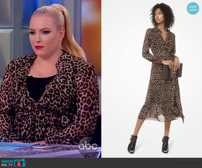 Leopard Georgette Wrap Dress by MICHAEL Michael Kors worn by Meghan McCain  on The View