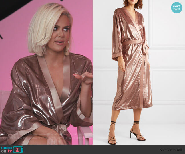 Silk-trimmed Metallic Velvet Kimono by Michelle Mason worn by Khloe Kardashian  on Keeping Up with the Kardashians