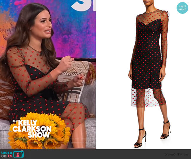 Heart-Embroidered Tulle Illusion Dress by Monique Lhuillier worn by Lea Michele on The Kelly Clarkson Show