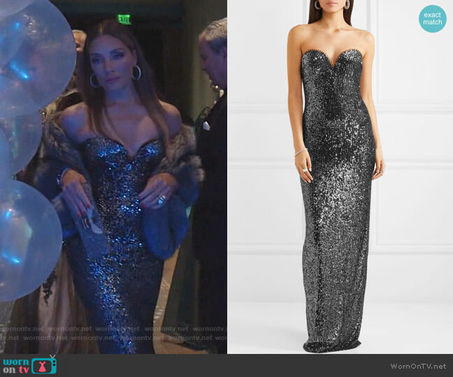 Strapless Sequin-Embellished Tulle Gown by Naeem Khan worn by Dominique Deveraux (Michael Michele) on Dynasty