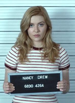Nancy's white and red striped ringer tee on Nancy Drew