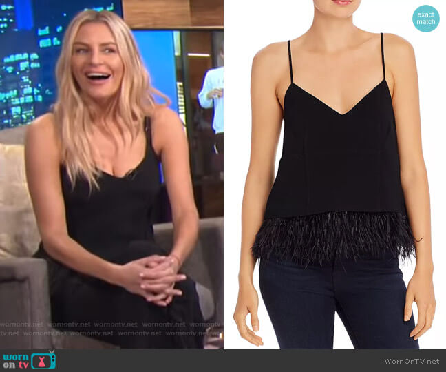 Narcissa Ostrich Feather-Trimmed Crepe Top by Cinq a Sept worn by Morgan Stewart  on E! News