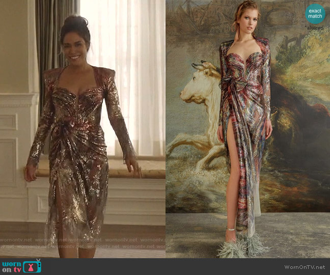 by Nedo by Nedret Taciroglu worn by Cristal Jennings (Daniella Alonso) on Dynasty