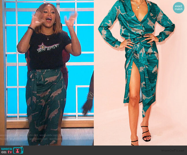 Green Cheetah Jaspre Skirt by Never Fully Dressed worn by Eve  on The Talk