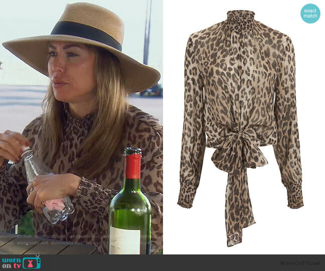 Mock Neck Leopard Blouse by Nicholas worn by Kelly Dodd  on The Real Housewives of Orange County