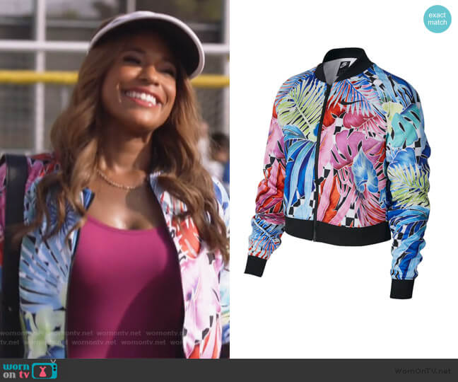 Tropical Printed Zip Front Jacket by Nike worn by Poppy (Kimrie Lewis) on Single Parents