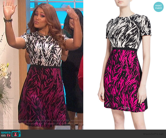 Two-Tone Printed Short-Sleeve Mini Dress by No.21 worn by Eve  on The Talk