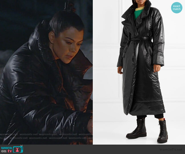 Sleeping Bag oversized shell coat by Norma Kamali worn by Kourtney Kardashian  on Keeping Up with the Kardashians