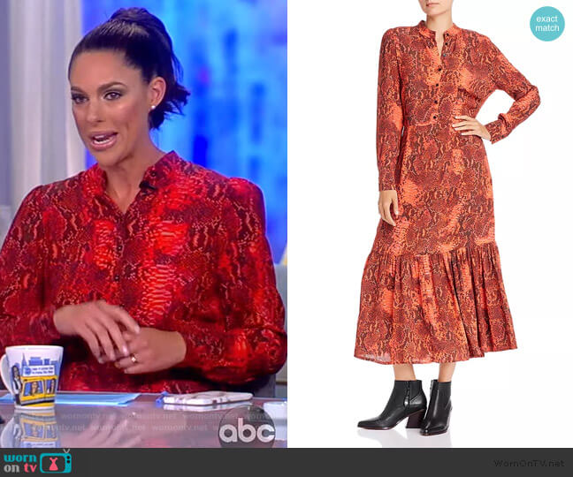 Monroe Snakeskin Print Button Dress by Notes du Nord worn by Abby Huntsman  on The View