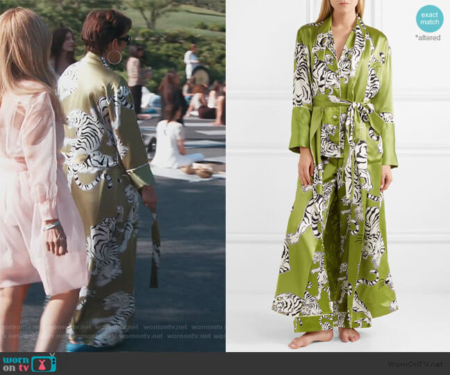 Capability Rola printed silk robe by Olivia Von Halle worn by Kris Jenner  on Keeping Up with the Kardashians