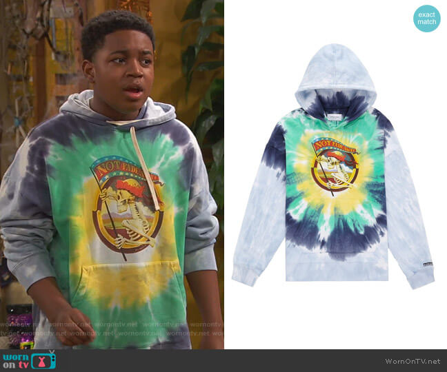 Stanley Mouse Not Fade Away Tie Dye Hoodie by Ovadia and Son worn by Booker Baxter (Issac Ryan Brown) on Ravens Home