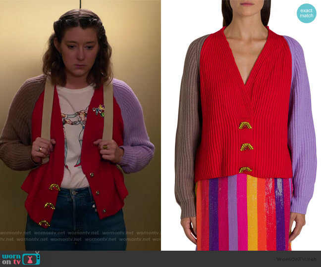 Tally Embellished Cardigan by Olivia Rubin worn by Nonnie Thompson (Kimmy Shields) on Insatiable