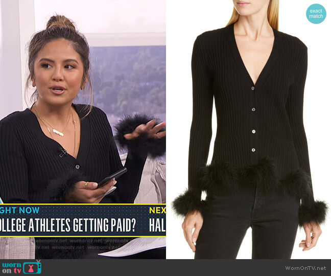 Rib Wool Cardigan with Feather Trim by Opening Ceremony worn by Erin Lim  on E! News