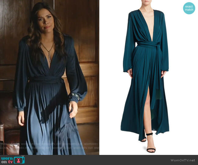 Deep V-Neck Long-Sleeve Gown by Oscar de la Renta worn by Cristal Jennings (Daniella Alonso) on Dynasty